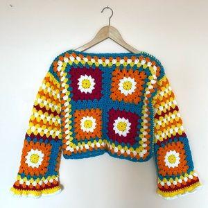 Handmade Crochet Granny Square Chunky Sweater with Daisy Pattern Acrylic Yarn